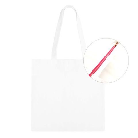 Blank Zip Tote Bag - White/Pink 12pk