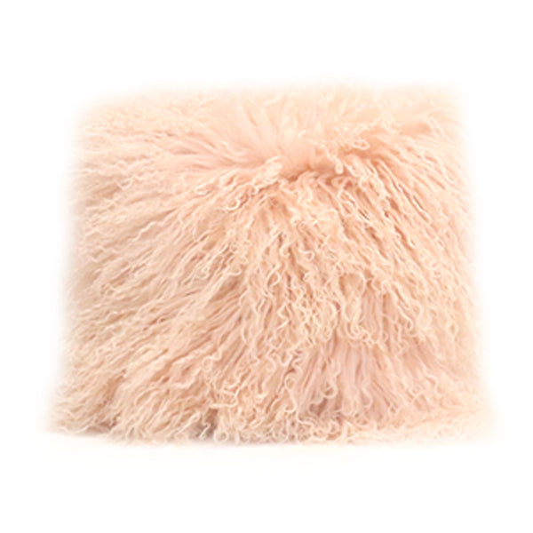 Mongolian Fur Pillow Cover - Pale Pink