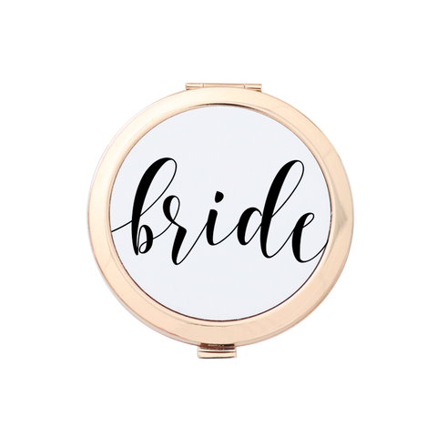 Bride Fancy Script Gold Compact Mirror Holder 3pk