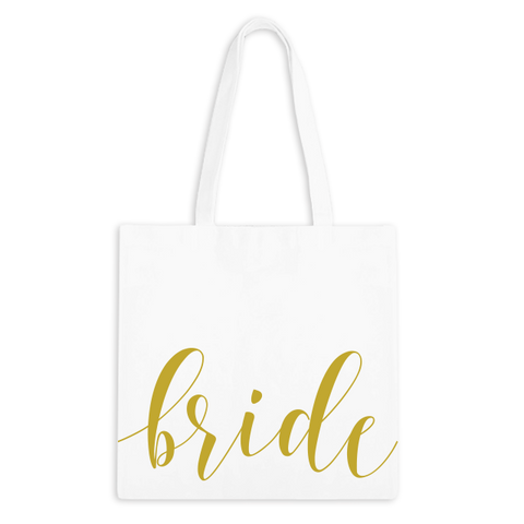 Bride Fancy Script Zippered Tote Bag - 1pk