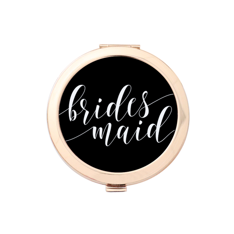 Bridesmaid Fancy Script Gold Compact Mirror Holder 1pk