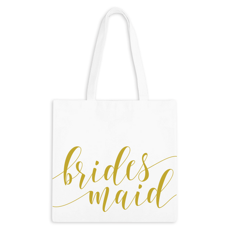 Bridesmaid Fancy Script Zippered Tote Bag - 3pk