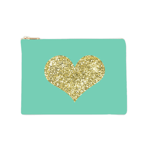 Cosmetic Bag - Glitter Gold Heart