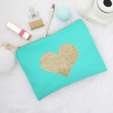 Cosmetic Bag - Glitter Gold Heart 6pk