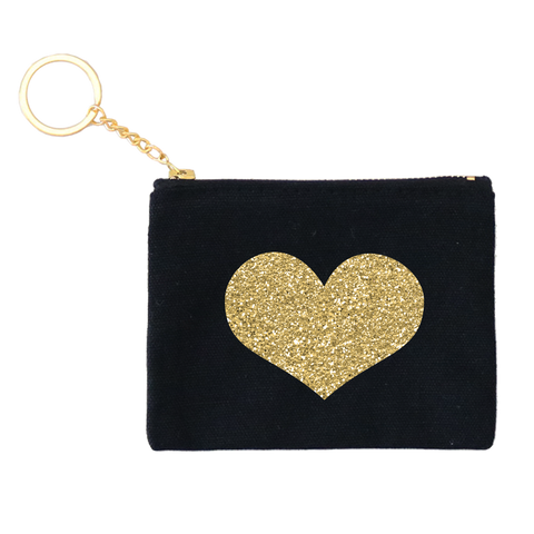 Glitter Gold Heart Credit Card Key Fob 3pk