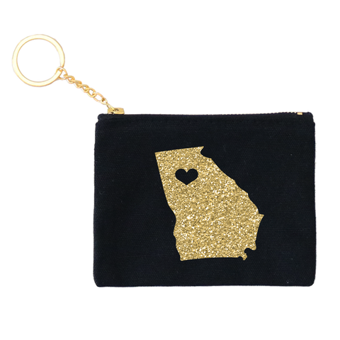 Glitter Gold Stateside Credit Card Key Fob 1pk