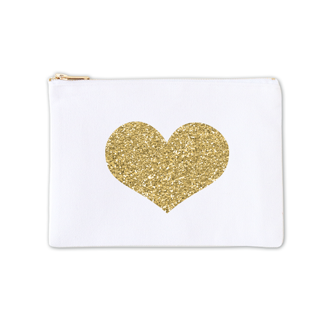 Cosmetic Bag - Glitter Gold Heart 3pk