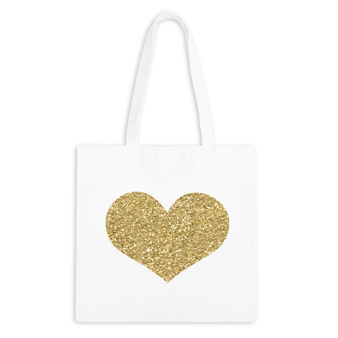 Glitter Gold Heart Zippered Tote Bag - 1pk