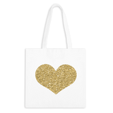 Glitter Gold Heart Zippered Tote Bag - 3pk