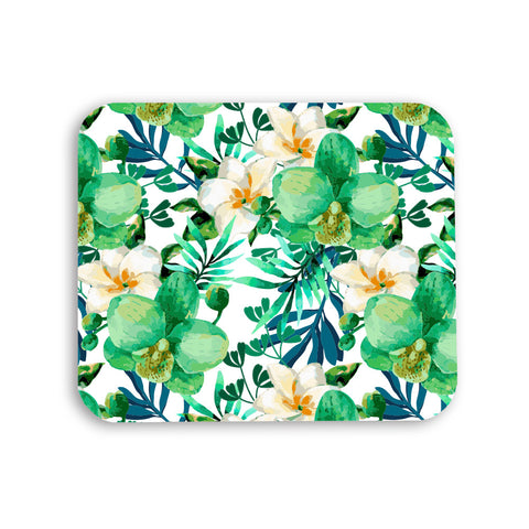 Mousepad - Tropical Leaves Watercolor Floral Print