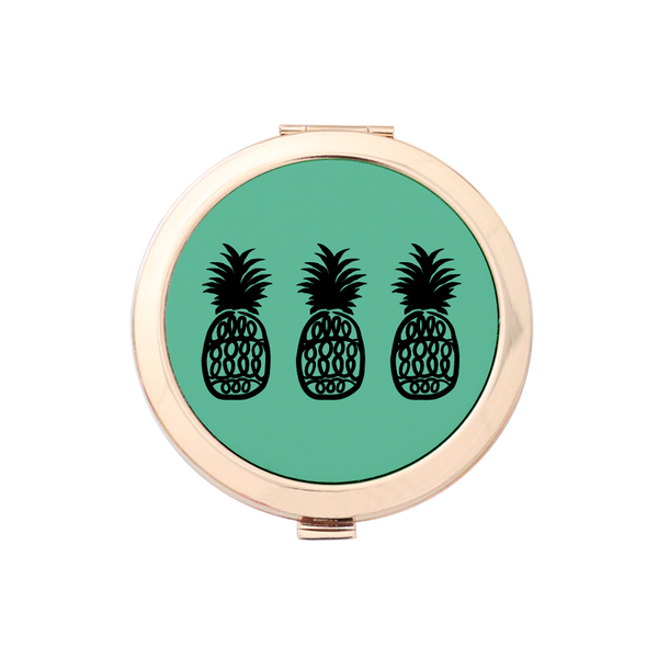 Pineapple Dreams Gold Compact Mirror Holder 3pk