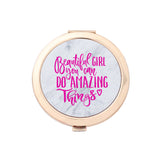 Gold Compact Mirror - Beautiful Girl