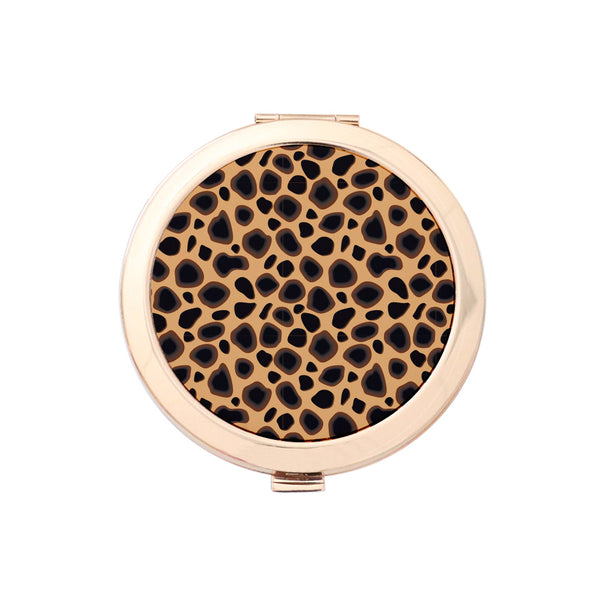 Gold Compact Mirror - Cheetah Print