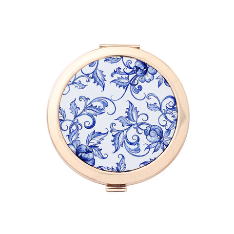 Gold Compact Mirror - Scents of Ginger Floral Print