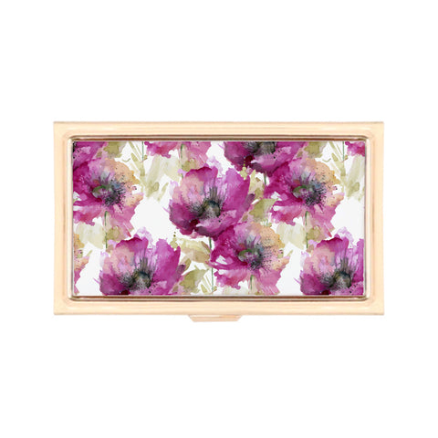 Gold Business Card Holder - Hints of Fall Watercolor Floral