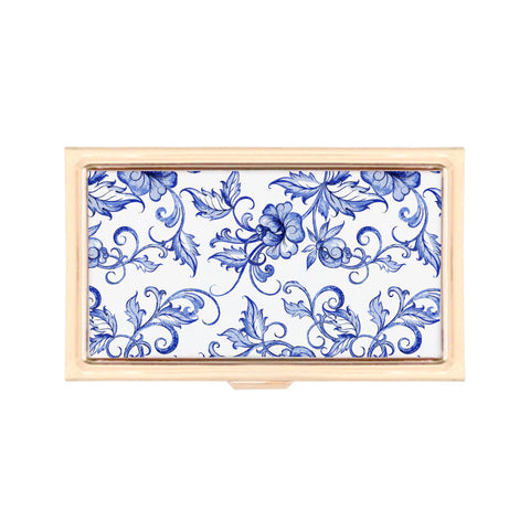 Gold Business Card Holder - Scents of Ginger Floral Print