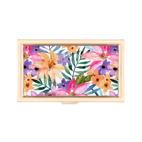 Gold Business Card Holder - Summer Warmth Watercolor Floral