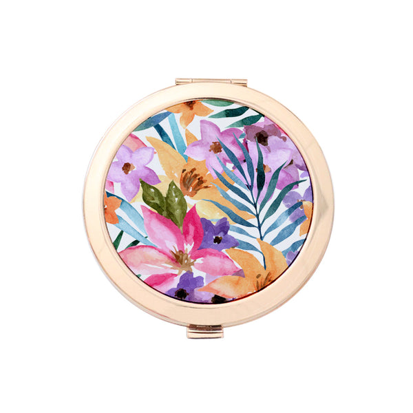 Gold Compact Mirror - Summer Warmth Watercolor Floral Print