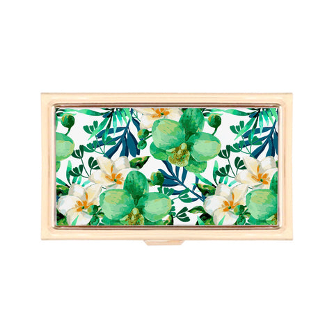 Gold Business Card Holder - Tropical Leaves Floral Print