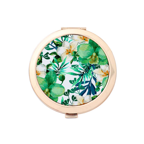 Gold Compact Mirror - Tropical Leaves Print