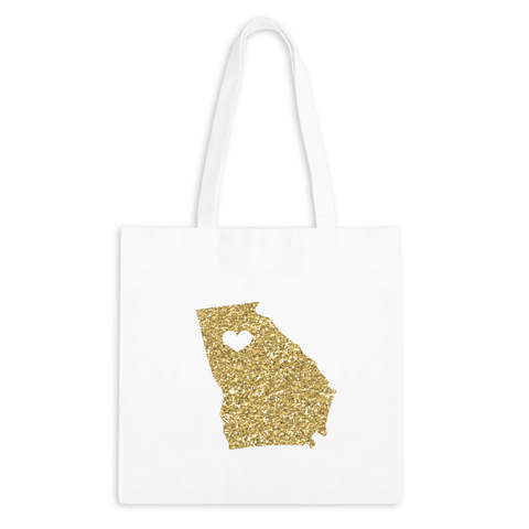 Glitter Gold Stateside Zippered Tote Bag - 1pk