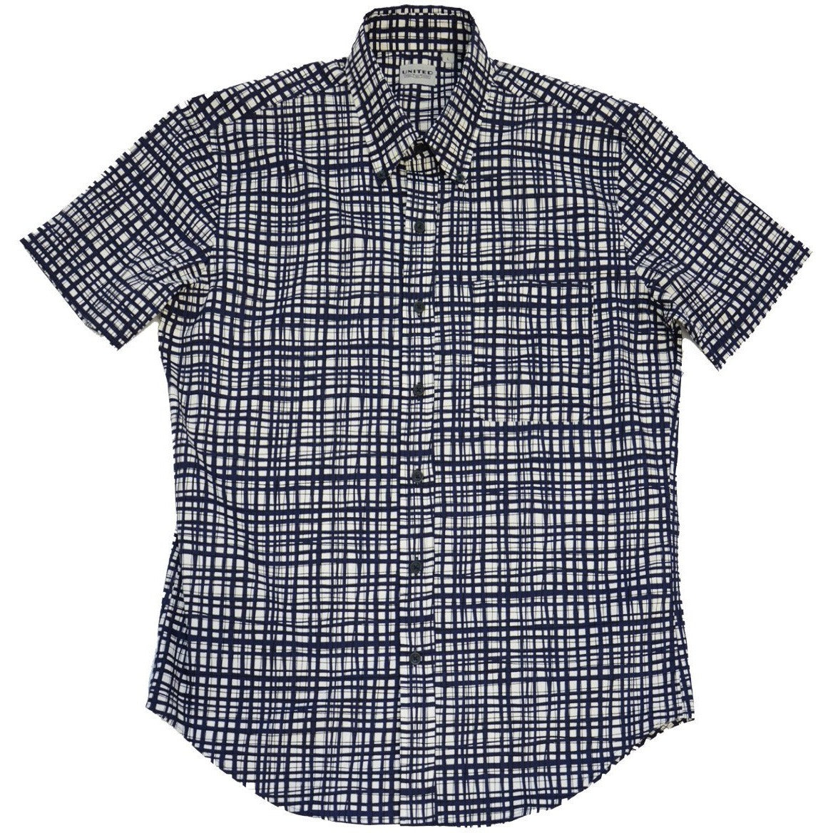 Navy Warped Grid Short Sleeve Button Down Shirt