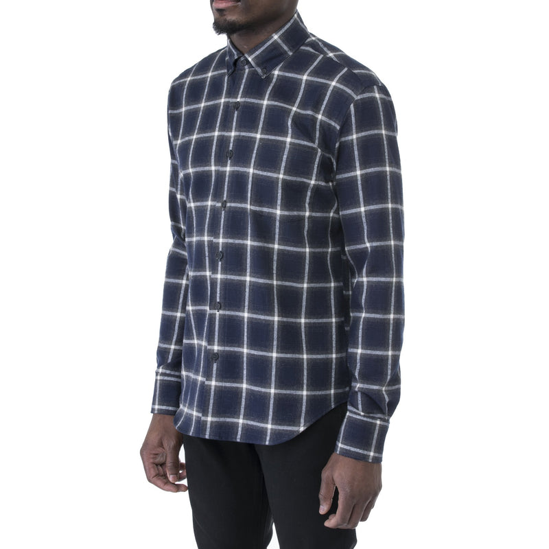 Indigo Plaid Flannel Shirt