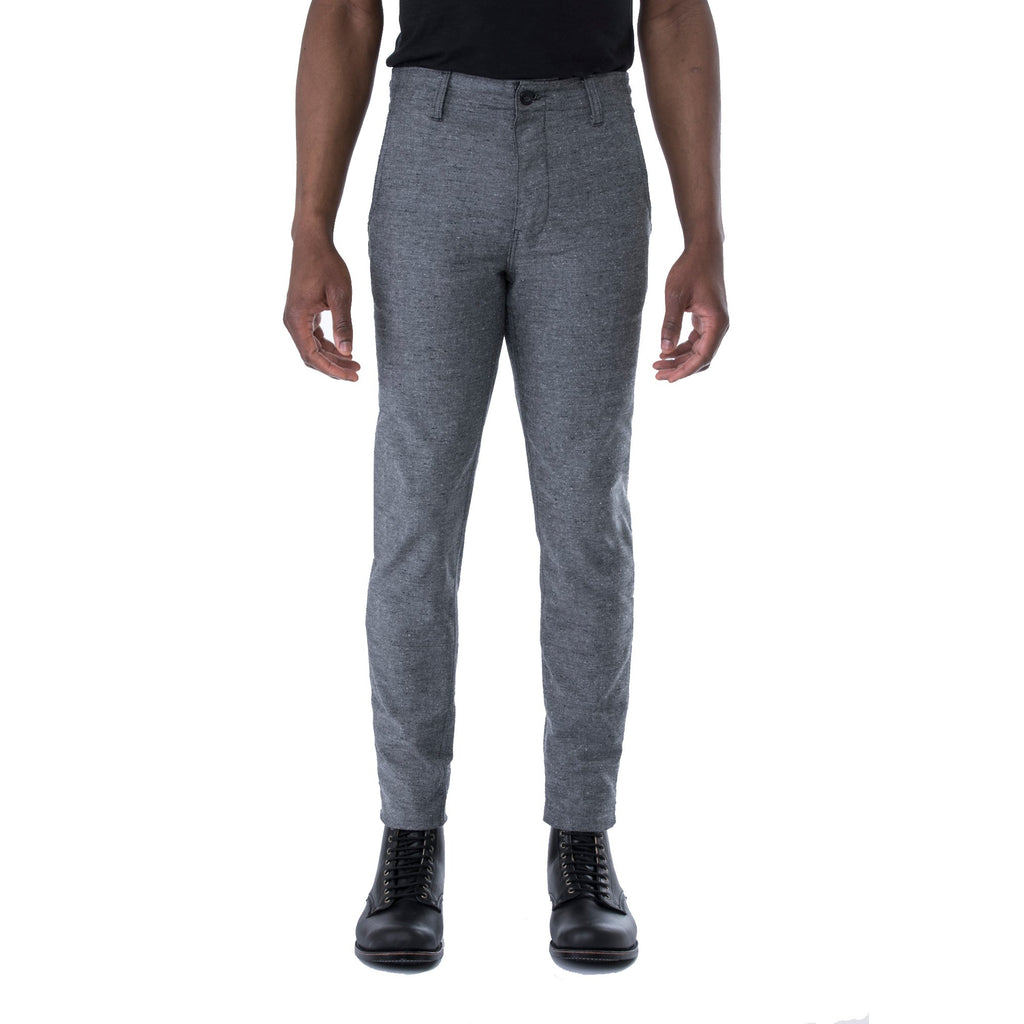 Grey Nep Stretch HT Chino Trouser