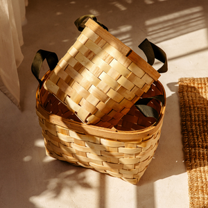 Wooden Square Basket, Natural