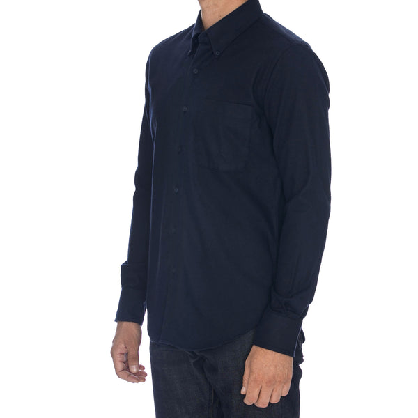 Navy Brushed Twill Long Sleeve Shirt