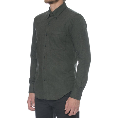 Charcoal Twill Flannel Long Sleeve Shirt