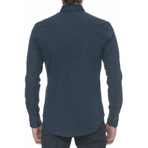 Navy Herringbone Long Sleeve Shirt