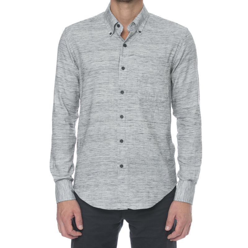 Grey Mélange Twill Long Sleeve Shirt