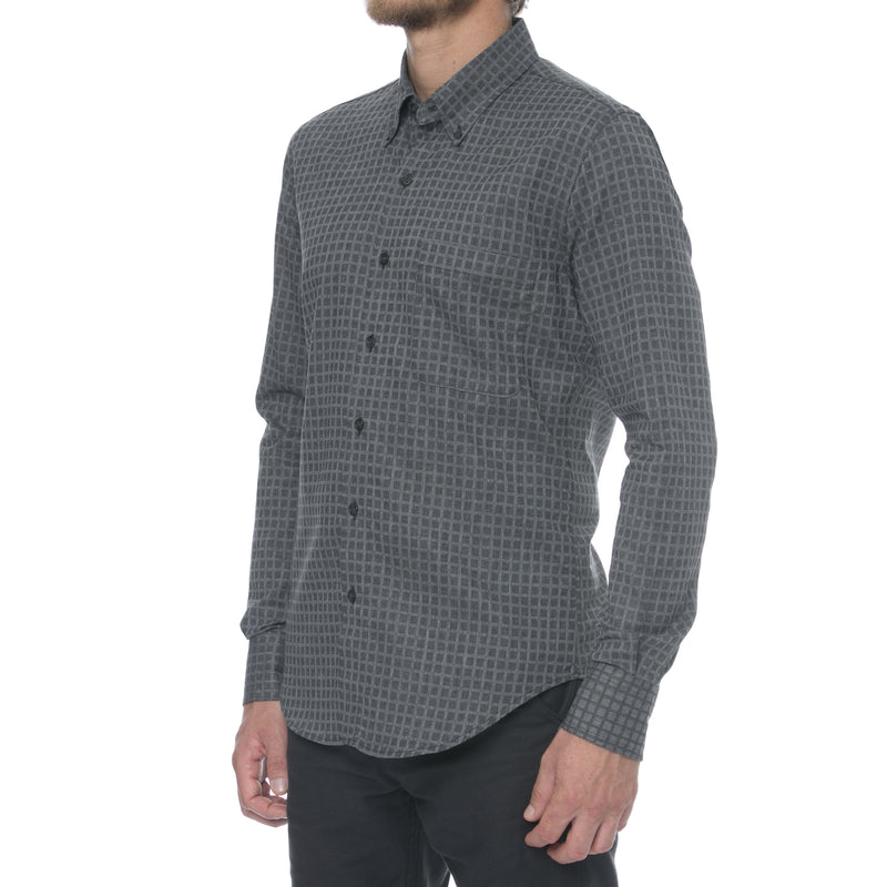 Grey Twill Grid Long Sleeve Shirt