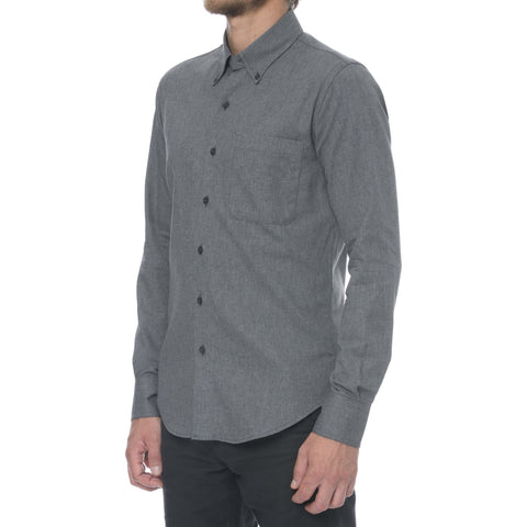 Charcoal Herringbone Long Sleeve Shirt
