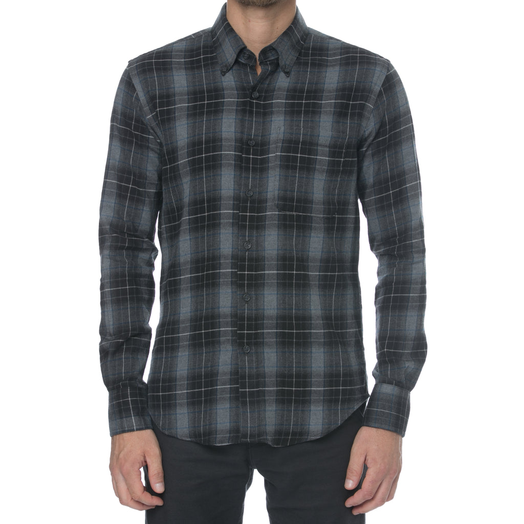 Black, Grey and Blue Plaid Long Sleeve Shirt