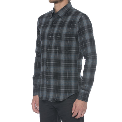 Heather Grey Melange Flannel Long Sleeve Shirt