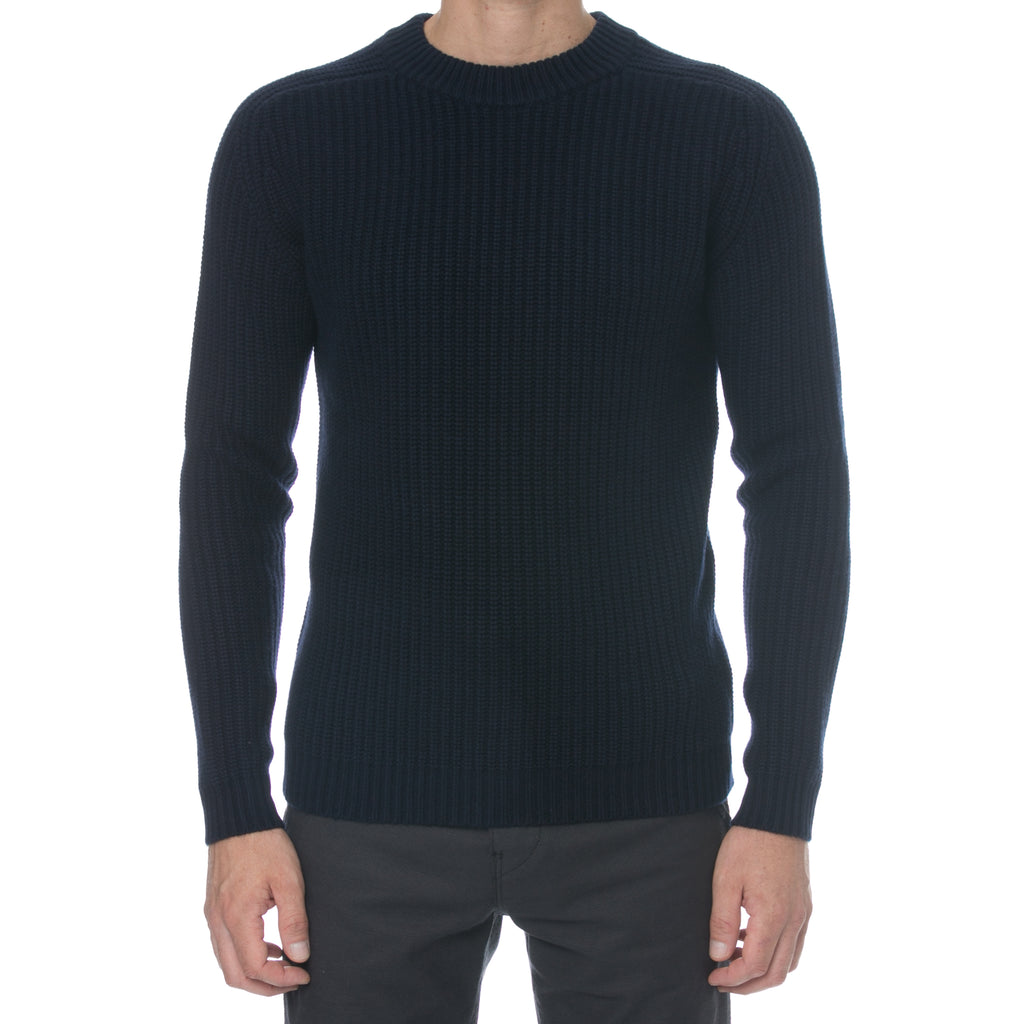 Navy Fisherman Knit Cashmere Sweater