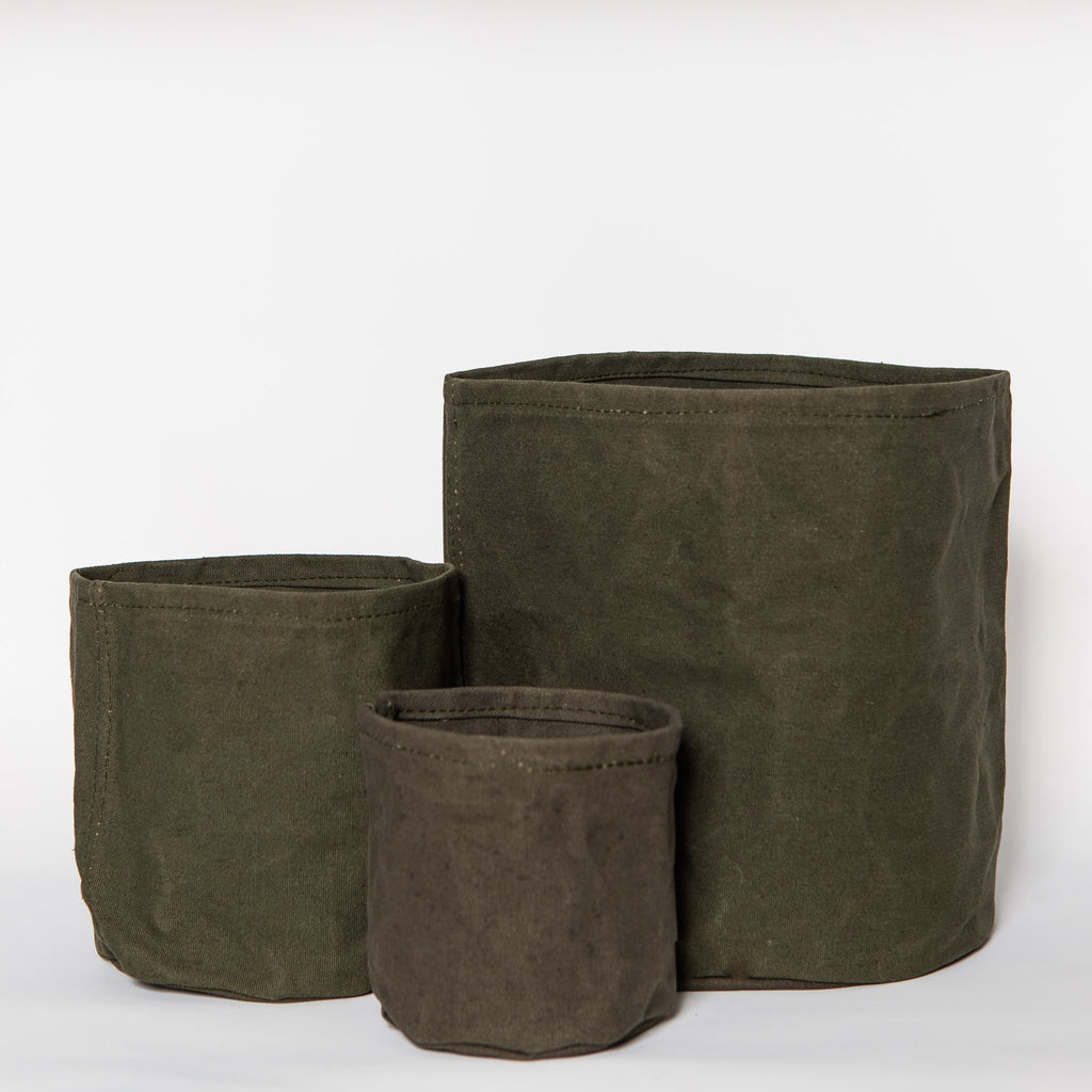 Small Waxed Canvas Pot Cover, Olive