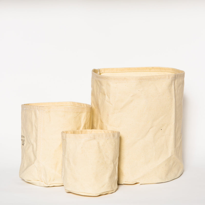 Large Waxed Canvas Pot Cover, Off White