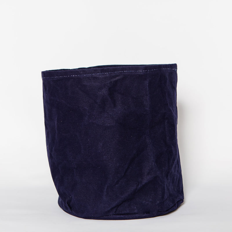 Large Waxed Canvas Plant Pot Cover, Ink Blue