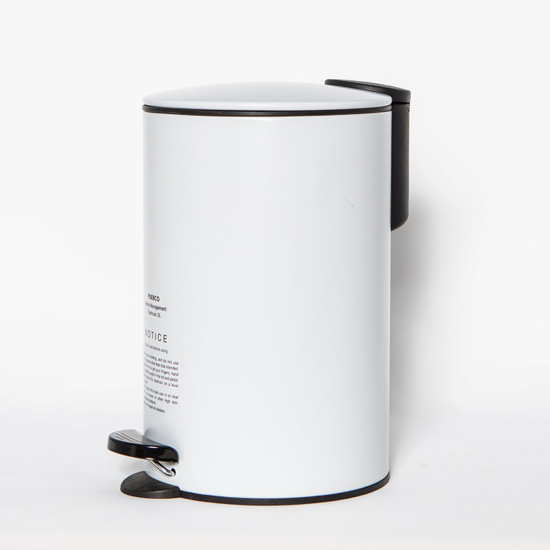 Steel Trash Can, White