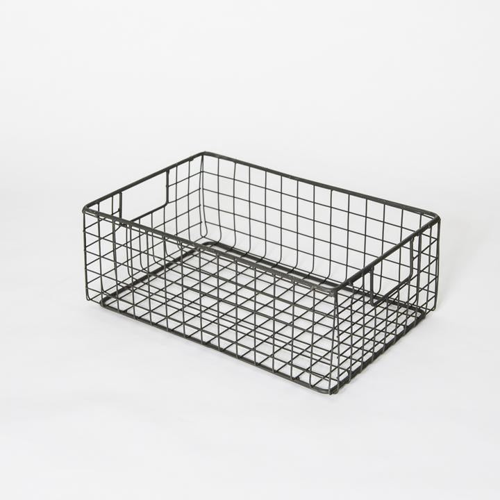 Industrial Wire Rectangular Basket, Small