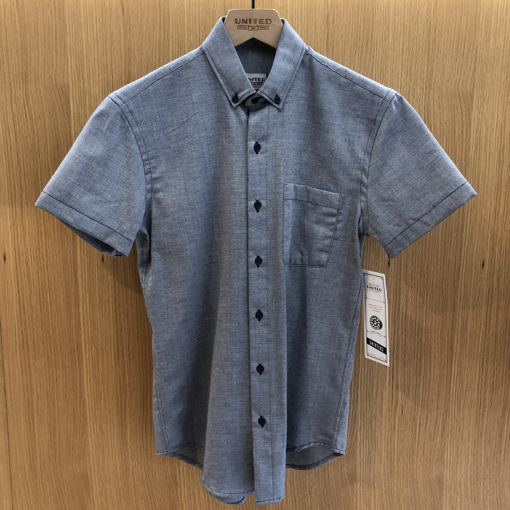 Navy Dobby Short Sleeve Shirt