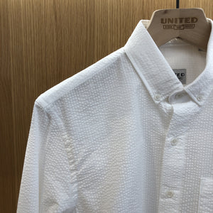 White Seersucker Tonal Stripe Shirt