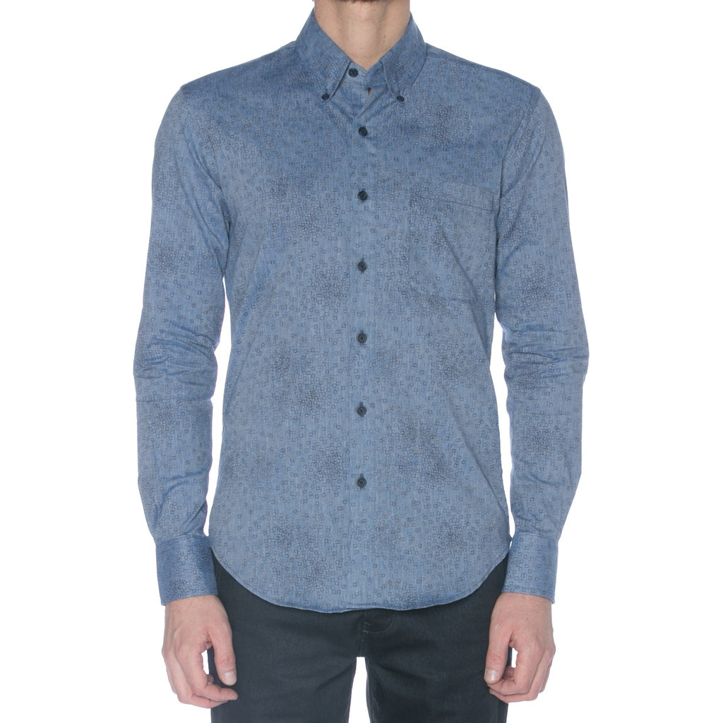Chambray Square Print Long Sleeve Shirt