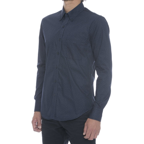 Blue Linen Blend Long Sleeve Shirt