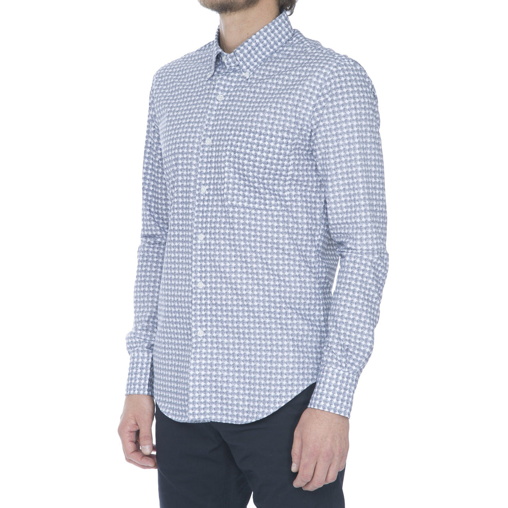 White/Navy Dot Grid Long Sleeve Shirt