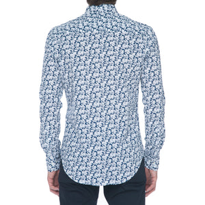 Navy White Floral Long Sleeve Shirt