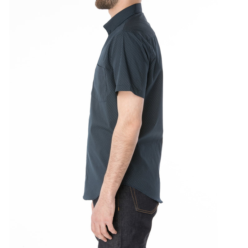 Navy Micro Dot Diamond Short Sleeve Shirt